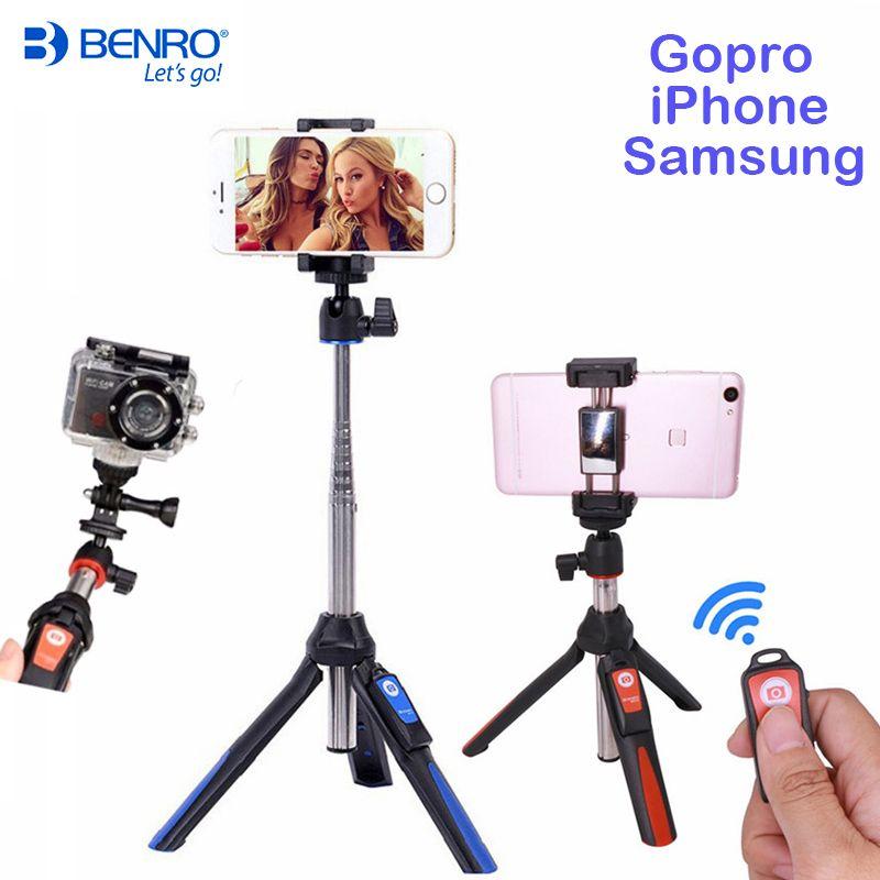 Benro Bluetooth Selfie Stick Tripod MK10 Extendable Self-portrait Monopod tripod for iPhone XS Samsung Huawei P20 Pro Gopro 7 6
