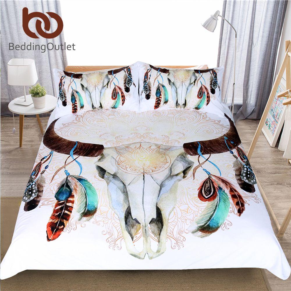 BeddingOutlet Skull Feathers Bedding Set Tribal Duvet Cover Indian Bohemian Floral Print Bedclothes Double Multi Colors 3-Piece
