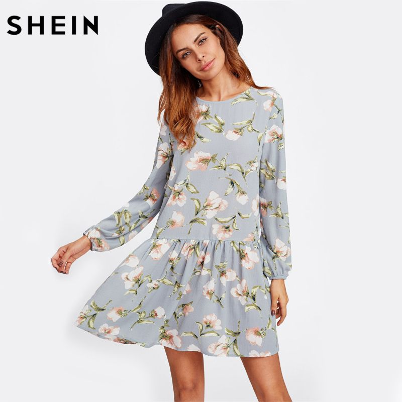 SHEIN Allover Flower Print Drop Waist A <font><b>Line</b></font> Dress Grey Long Sleeve Round Neck Cut Out Back Floral Cute Dresses