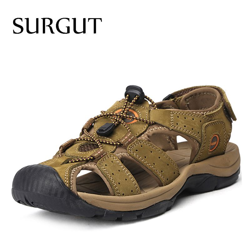 SURGUT Brand Genuine Leather Shoes Summer New Large Size Men's Sandals Men Sandals Fashion Sandals And Slippers Big Size 38-47