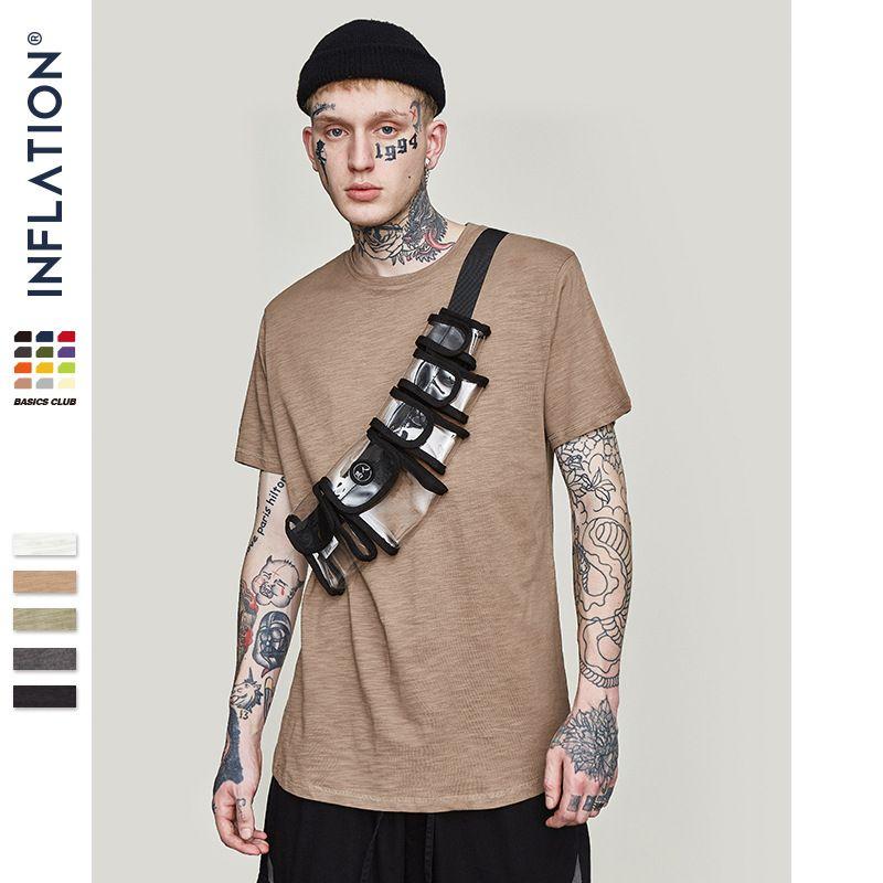 INFLATION hommes solide étendu allongé plaine T-shirt bambou haut en coton T-shirt haute rue robe T-shirt 0118S17