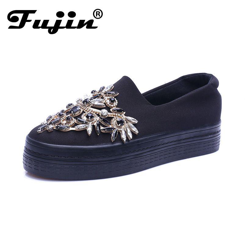 2017 со стразами обувь на платформе дышащая черный кристалл обувные криперы женские слипоны без шнуровки толстой подошве роскошные квартиры