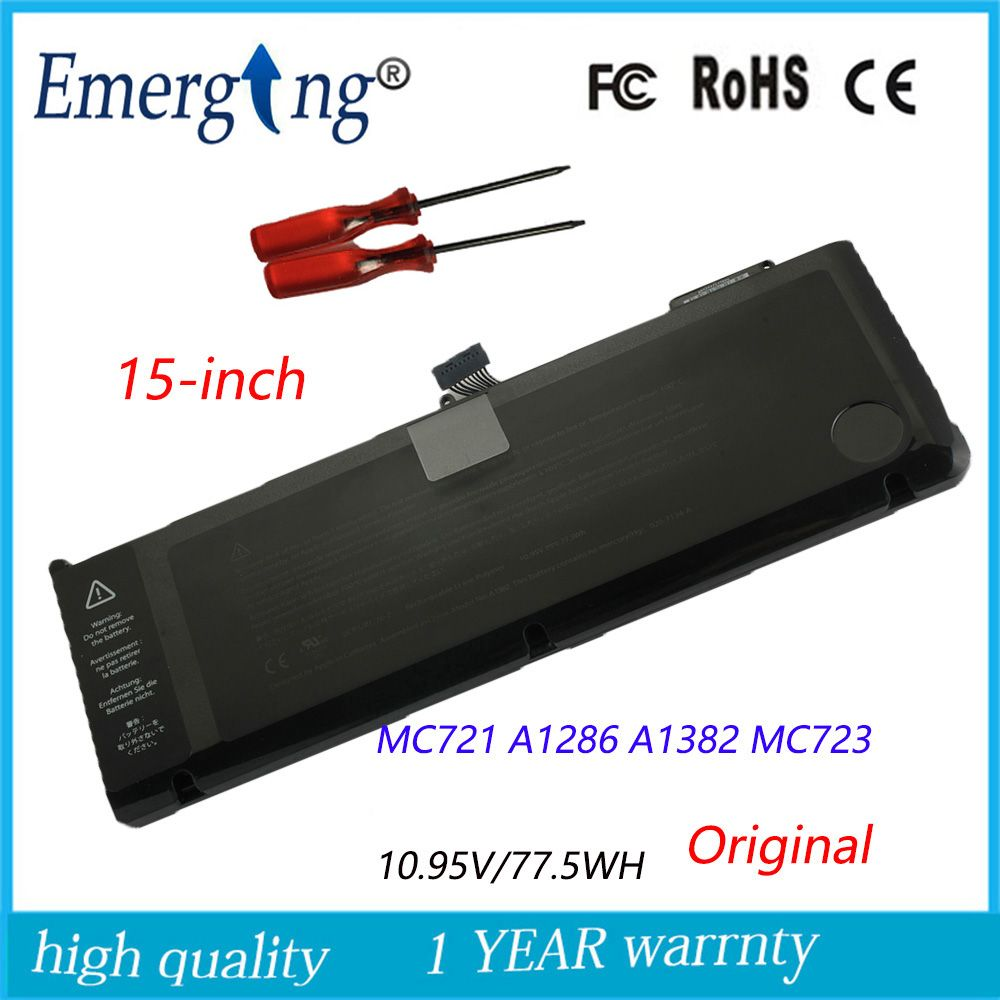10.95v 77.5Wh New Original Laptop Battery for APPLE MacBook Pro 15 A1286 2011 2012 Series A1382 MC723 MC721 with tools