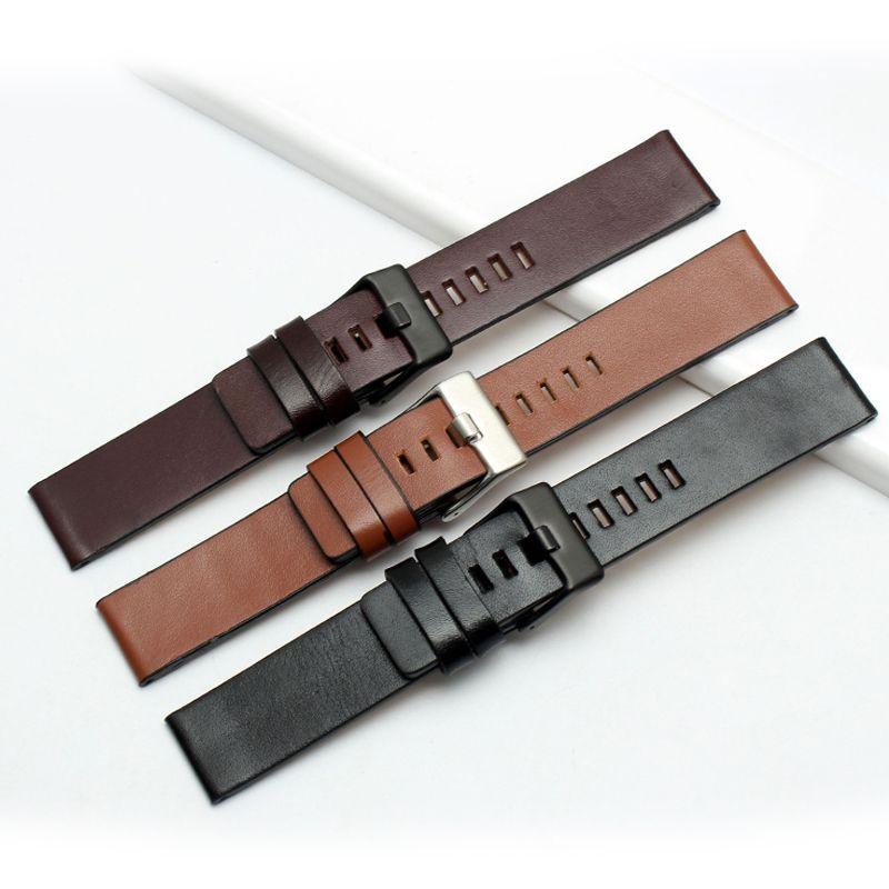 Mode Bracelet en cuir véritable montre pour hommes bande 22mm 24mm 26mm 28mm 30mm Bracelet marron Bracelet
