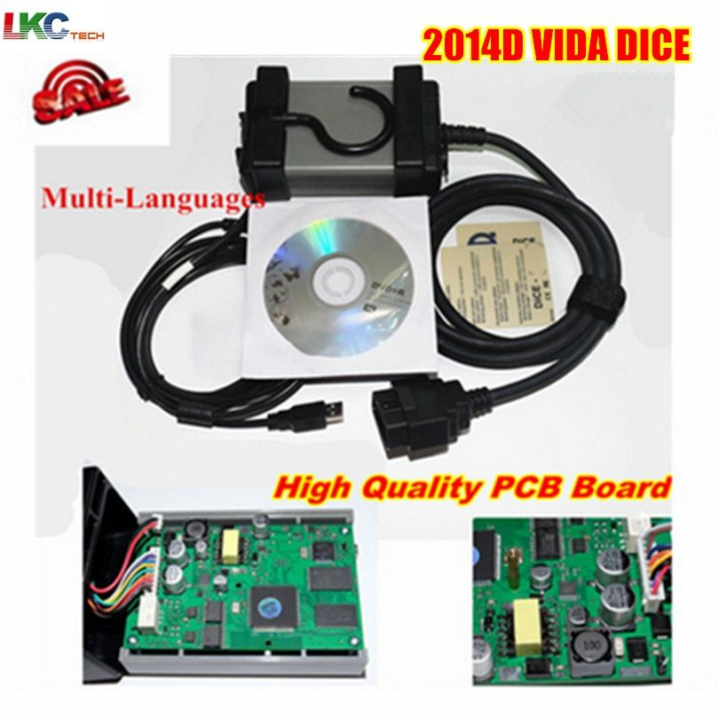 Russian stock ! Newest 2014D MultiLanguage Vida Dice Green Board Diagnostic Tool For v-o-lvo Dice Pro free shipping