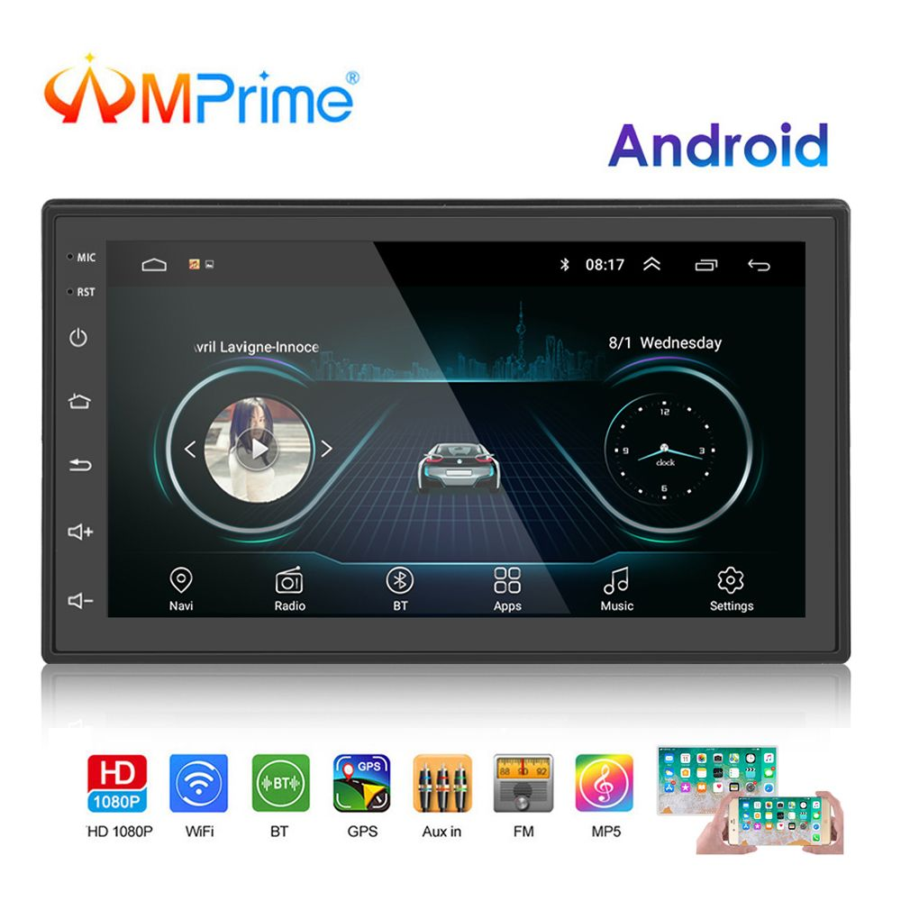 AMPrime 2 Din autoradio Android universel GPS Navigation Bluetooth écran tactile Wifi voiture Audio stéréo FM USB voiture multimédia MP5