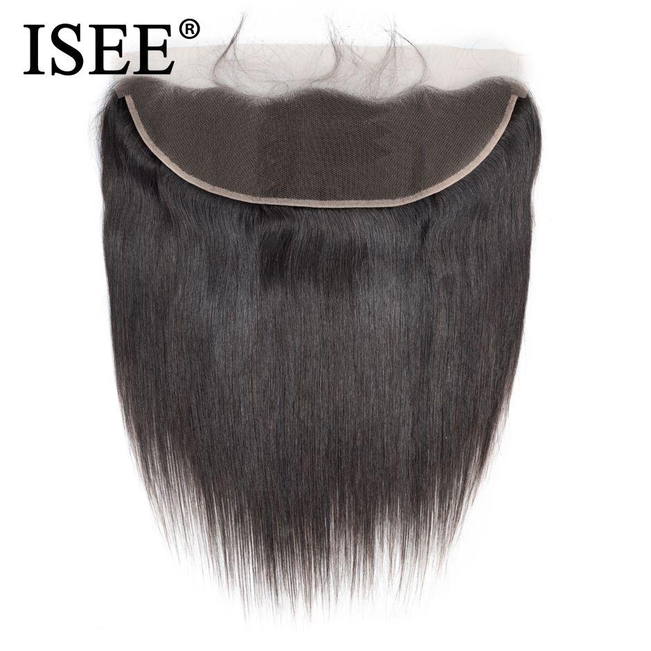 ISEE CHEVEUX Malaisienne Droite Cheveux Frontale Dentelle Fermeture 13*4 Oreille à Oreille Partie Libre Fermeture 130% Destin Remy cheveux Livraison Gratuite