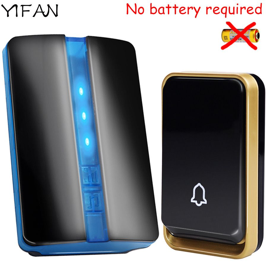 YIFAN New Wireless Doorbell NO battery Waterproof EU Plug led light 150M long range smart Door <font><b>Bell</b></font> 1 2 button 1 2 receiver