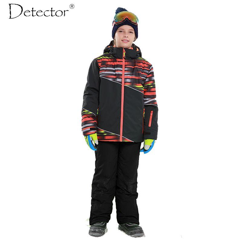 Детектор Обувь для мальчиков Лыжная комплект Водонепроницаемый ветрозащитная Теплая Лыжная куртка Детские зимние штаны Сноуборд костюм