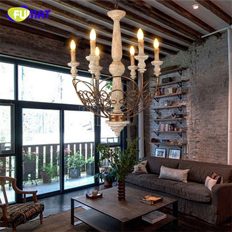 FUMAT American country Solid Wooden Chandeliers New Classic Creative Arit Hanging Antique Hotel Wood carved Candle Chandelier