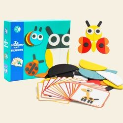 kids educational toy montessori learning resouces creactive wooden animal puzzle with 20 illustration cards gifts for baby child
