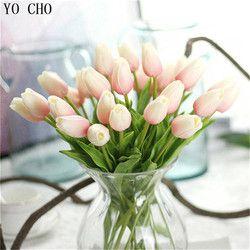 YO CHO 1 UNID PU Flores Artificiales Real touch Tulipanes artificiales para decora mini Tulipán Inicio decoración de La Boda Flores