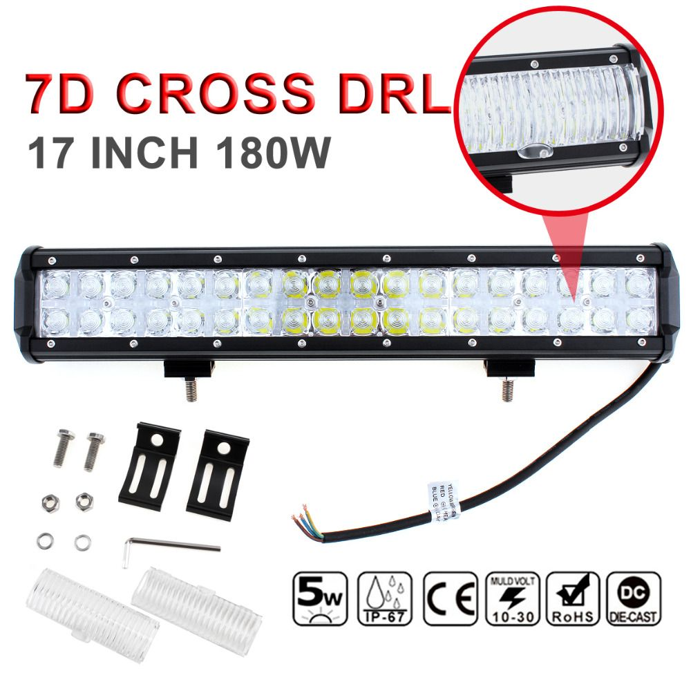 7D Cross DRL 17 Inch 180W LED Work Light Bar Spot Flood Beam Combo Offroad Car Driving Lamp for SUV ATV Truck Off Road Worklight