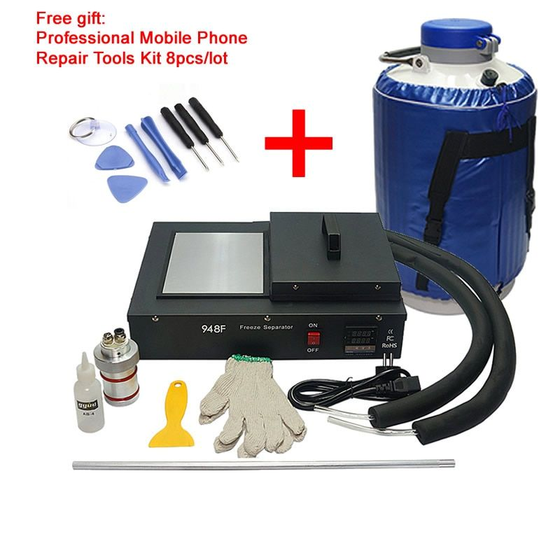 FS-06 liquid nitrogen freezing LCD Separating machine 2 in 1 pack with vacuunm pump and nitrogen tank frozen separator