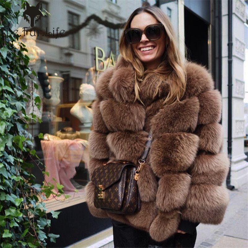 Furealux Echt Fuchs Pelz Mantel Frauen Winter Dicken Pelzmantel Echt Fuchs Pelz Jacke Mantel Weibliche Damen Stehen Kragen Pelze jacke
