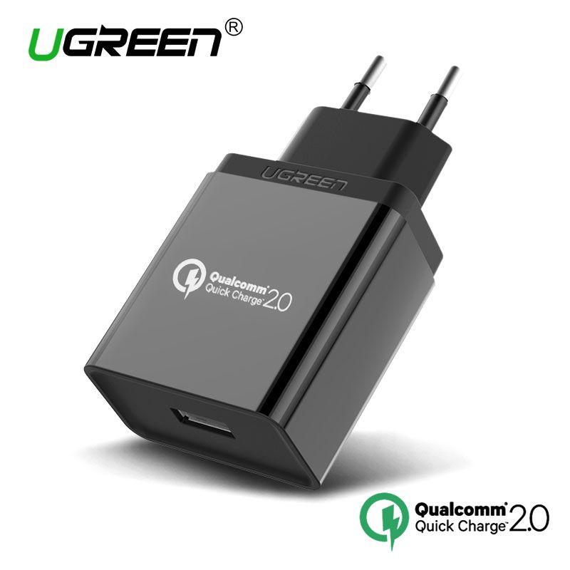 Ugreen 18 Вт Quick Charge 2.0 мобильный телефон Зарядное устройство быстрый usb зарядное Зарядное устройство для Samsung S5 S6 LG G4 Xiaomi 3 Huawei Быстрый Зарядное ус...