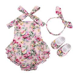 Floral New Born Baby Infant Girl Clothes Set Summer Photography;Cotton Newborn Clothing Baby Girl Romper Headband Shoes 3pcs Set