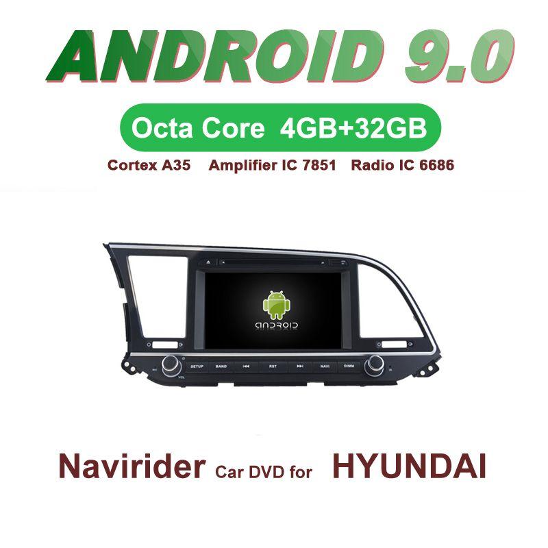 Navirider GPS Android 9.0 bluetooth stereo 4-Core 8-Core auto DVD player für HYUNDAI ELANTRA 2016 kopf einheit autoradio zubehör
