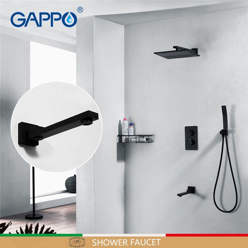 GAPPO Dusche armaturen bad mischer badewanne wasserhahn mischer verborgen dusche mischer Schwarz Thermostat dusche sets bad armaturen
