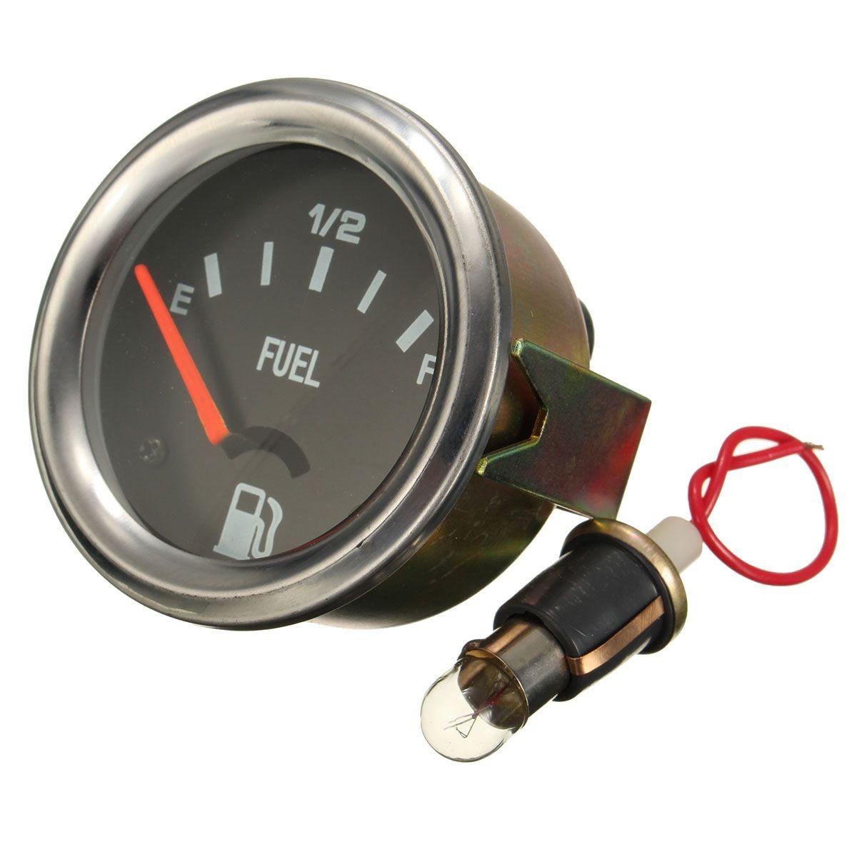 52mm Mechanical Auto Car Fuel Level Gauge Yellow Light Without Sensor E-1/2-F Pointer 12V