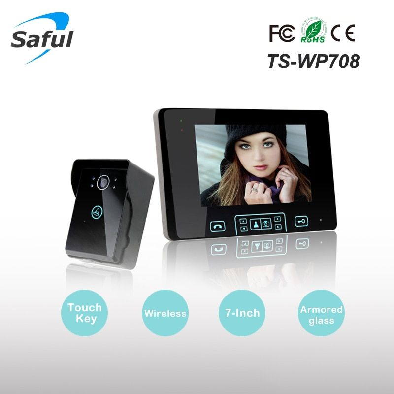 Saful TS-WP708 7 pulgadas de dos vías video intercomunicador puerta Teléfono manos libres sistema de intercomunicación inalámbrica con Wireless desbloquear el control