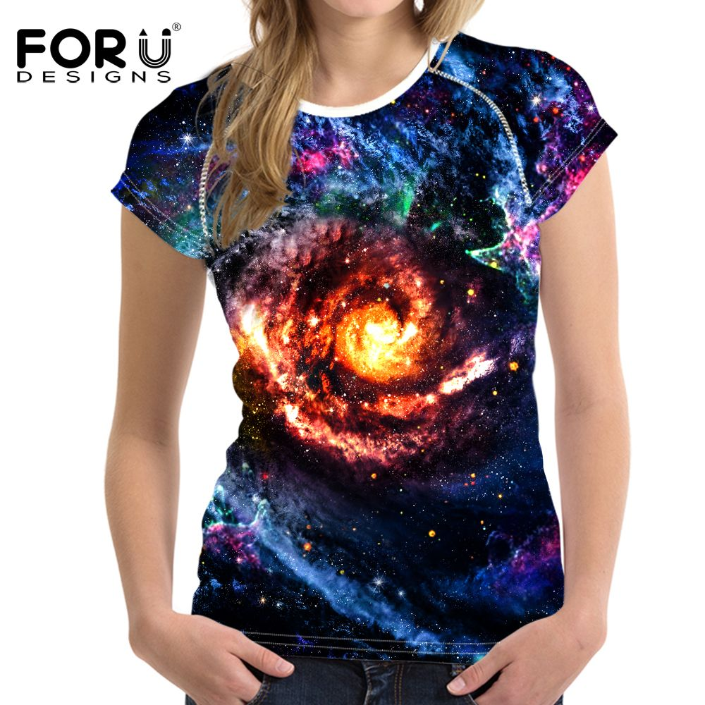 FORUDESIGNS Sport Shirt Women Fitness Sleeveless Running Athletic Clothes Galaxy Space Printing Women's T Shirt Plus Size Tops