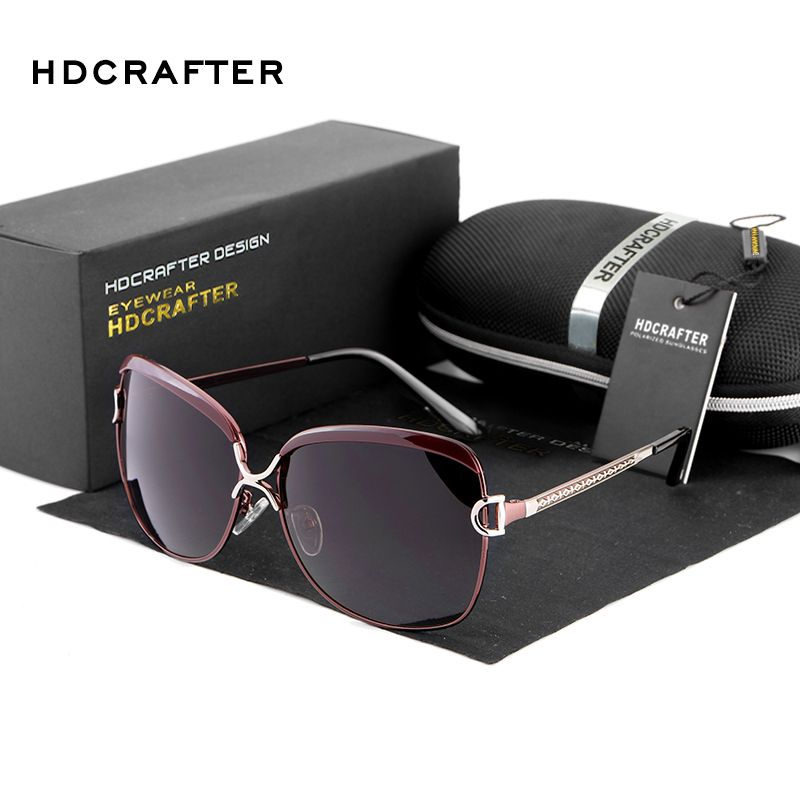 HDCRAFTER 2017 lunettes de soleil polarisées femmes marque Designer femme rétro surdimensionné lunettes de soleil pour femmes oculos de sol feminino