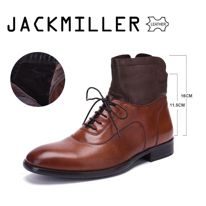 Jackmiller Echtem Leder Männer Stiefel Frühling Herbst Stiefeletten Mode Schuhe Lace Up Schuhe Männer Business Große Größe Männer Schuhe