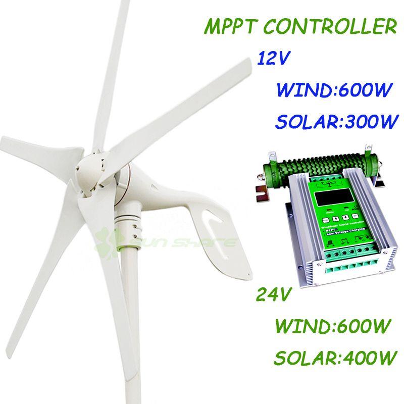 400w Max power 600w small wind generator+1000w MPPT wind solar hybrid charge controller(For 600w wind turbine+400w solar panel)