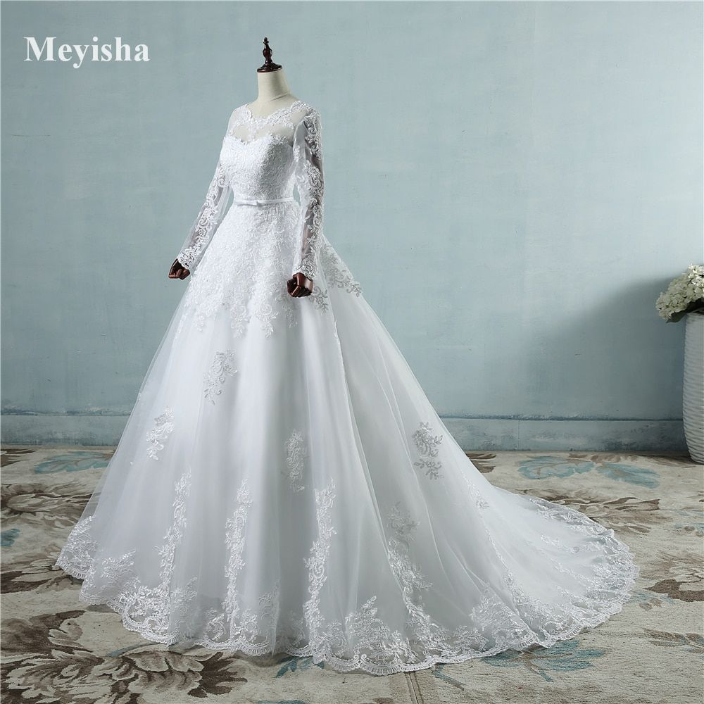 ZJ9065 Corset lace up 2017 White Wedding Dresses with lace edge big train long sleeves for brides formal plus size 2 26W