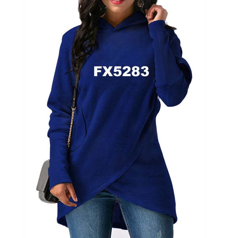 2018 New Fashion Print Sweatshirts Hoodies Women Femmes Tops Cotton Pockets Casual Printing Buckle Autumn