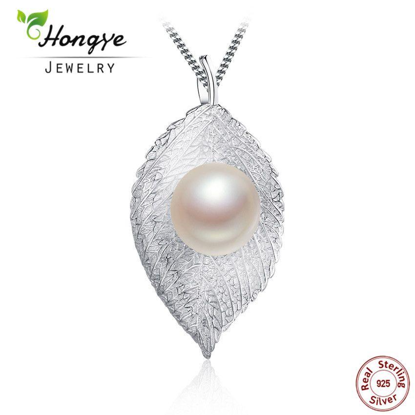 Hongye Mode 925 Argent Perle Pendentif Pour Les Femmes Naturel D'eau Douce Perle Collier Pendentif Feuilles Conception Bijoux Livraison Gratuite