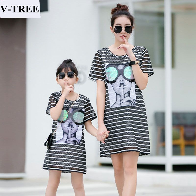 V-Tree платья для мамы и дочки летнее платье для мамы и дочки в полоску Семья семейная Одежда Платье рубашка для девочек Костюмы