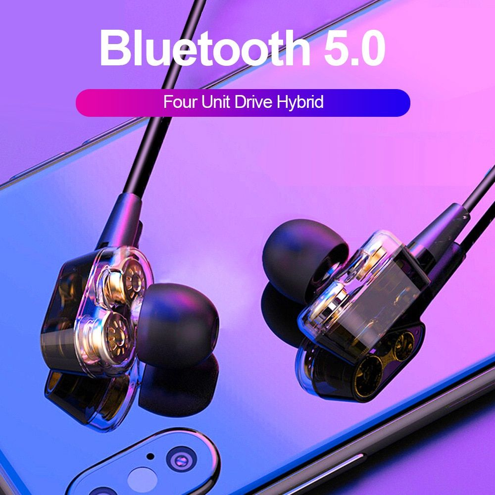 ALWUP S10 Double Dynamic Hybrid Bluetooth Earphone Wireless Headphones Four Unit Drive Deep Bass Earphone for Phone with mic 5.0