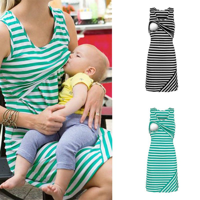 2019 Casual Maternity Dresses Nursing Breastfeeding Clothes Summer Sleeveless Loose Short Women Nursing Tops Dress Plus Size