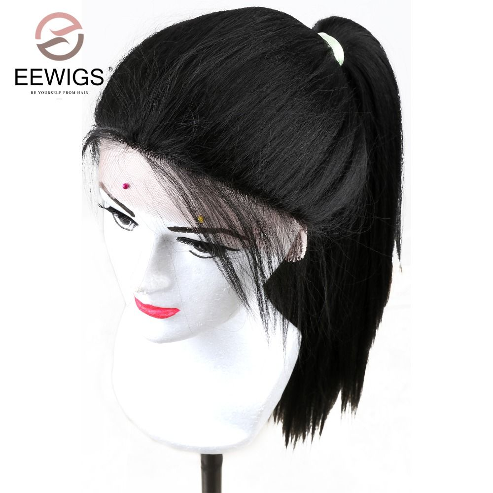 Long Kinky Straight Lace Front Artificial Hair Wig For Black Women Yaki Hair Synthetic Lace Front Wig With Baby Hair