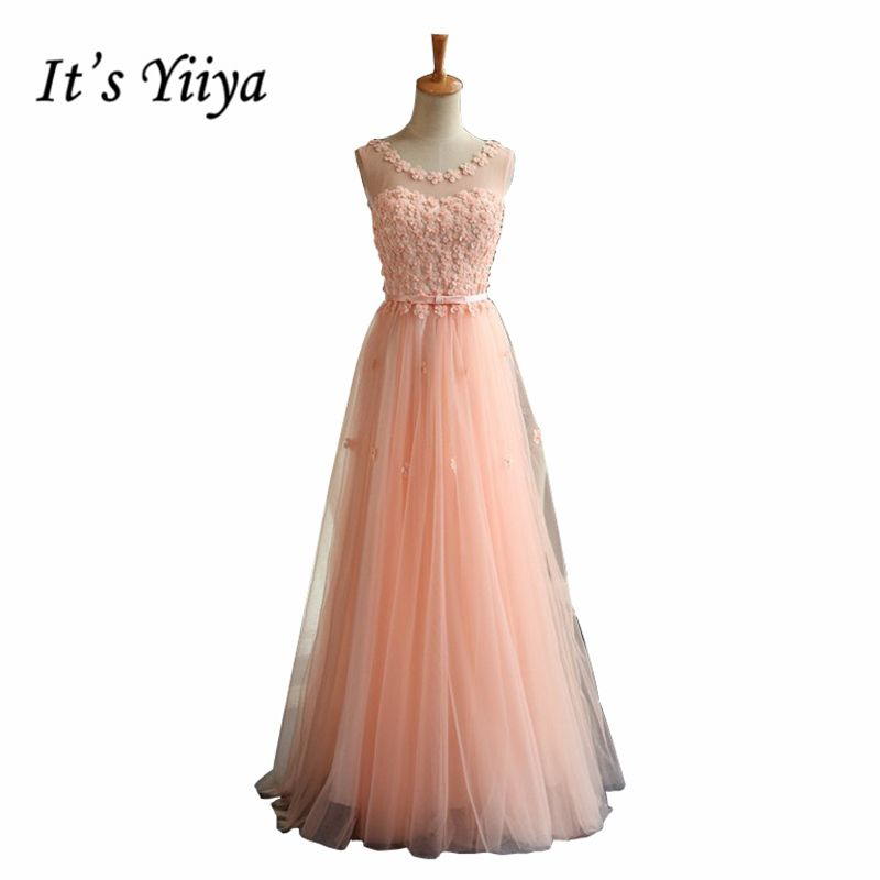 It's YiiYa New 2017 Quality Pink Flowers Tulle Prom Gowns Floor Length O-neck Lace up Party Dresses Custom Made MYF004