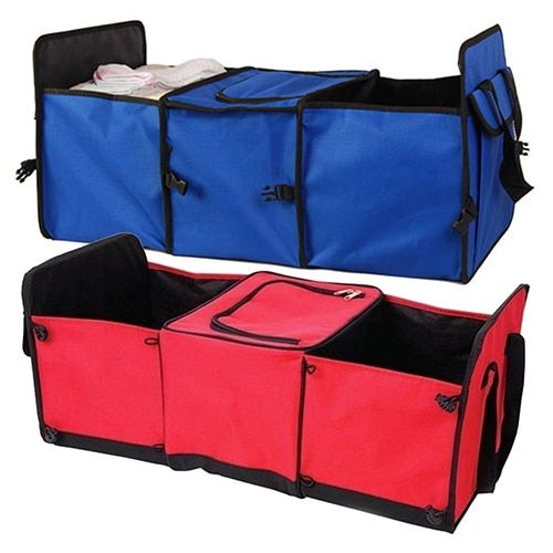Car Truck Van 3 Compartments Insulated Cooler Collapsible Storage Box Organizer