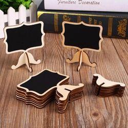 Cobee 10 unids mini madera Pizarras pizarra stick soporte decoración del partido del acontecimiento fuentes de escuela