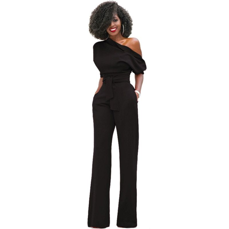 plus size 2017 Wide Leg Summer elegant Rompers Womens Party Jumpsuit Overalls tunic Belted Jumpsuit combinaison Female black red