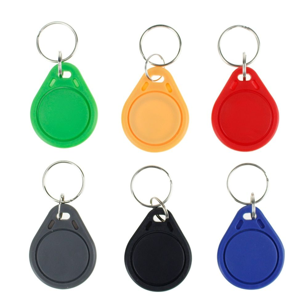 100pcs RFID keyfobs 13.56 MHz keychains NFC tags ISO14443A MF Classic® 1k nfc access control token smart keycard six colors