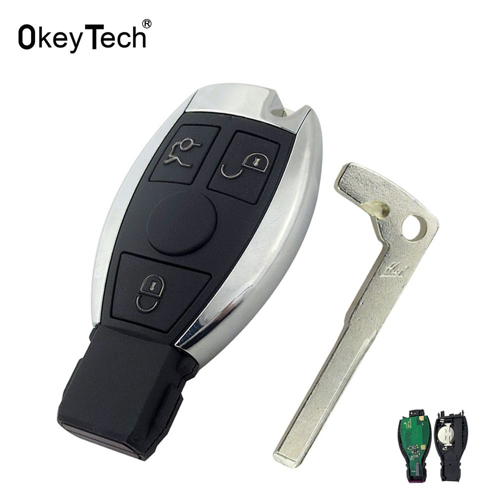OkeyTech For Mercedes Benz Key 433MHz 3 Button Remote Control Car Smart Key Fob Replacement For Mercedes Benz Year 2000+ NEC&BGA
