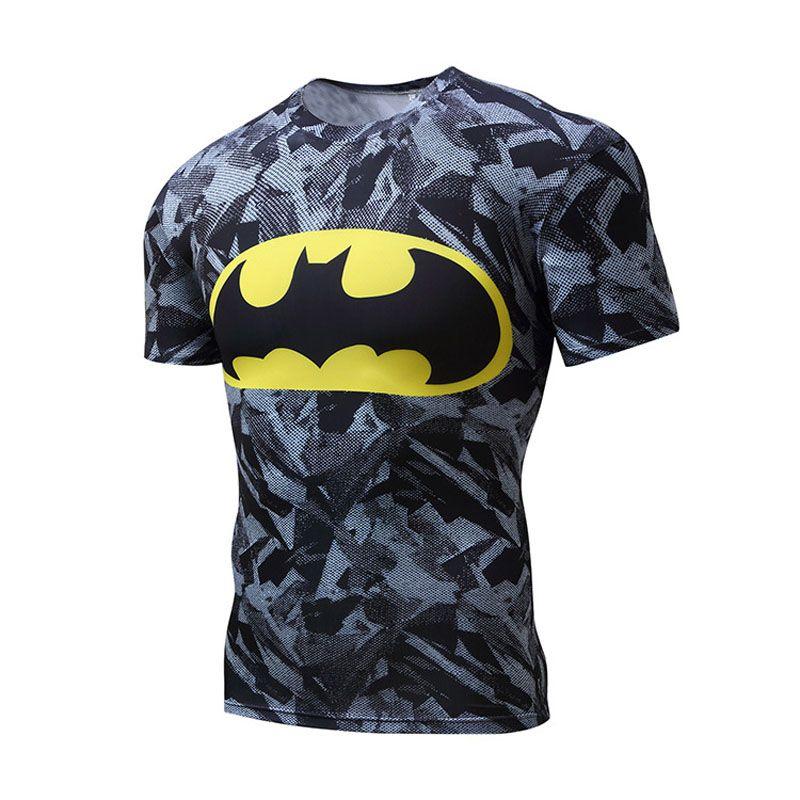 Haute Qualité Polyester 3D Imprimé T-shirts Hommes De Compression Chemise Nouvelle À Manches Courtes Fitness Chemise Vêtements Pour Hommes Crossfit Tops