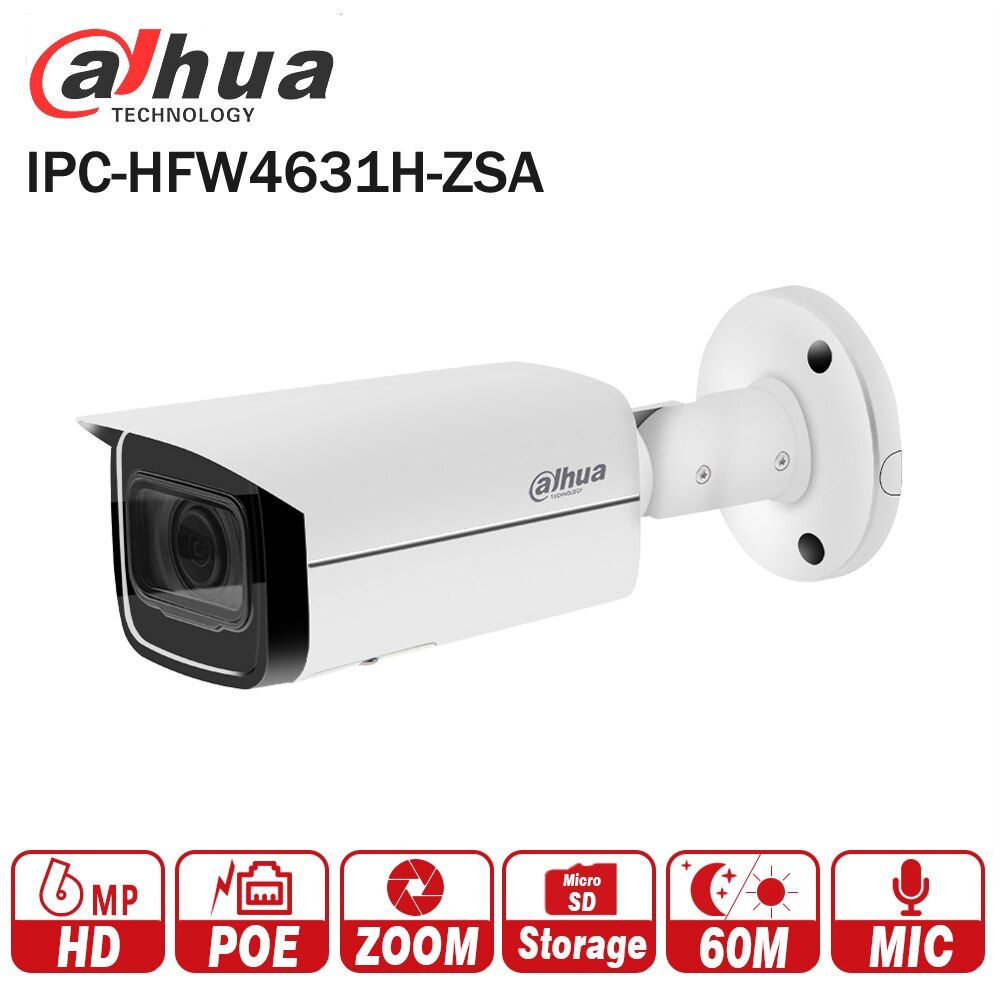 Dahua 6MP IP Camera IPC-HFW4631H-ZSA Upgrade version of IPC-HFW4431R-Z with Build in Microphone SD Card slot PoE Camera 6MP HD