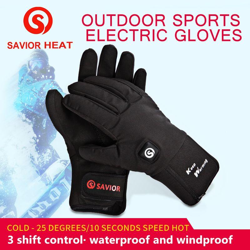 Savior battery heated glove outdoor sports cycling riding racing bike waterproof windproof keep warm 3levels control SHGS20B new