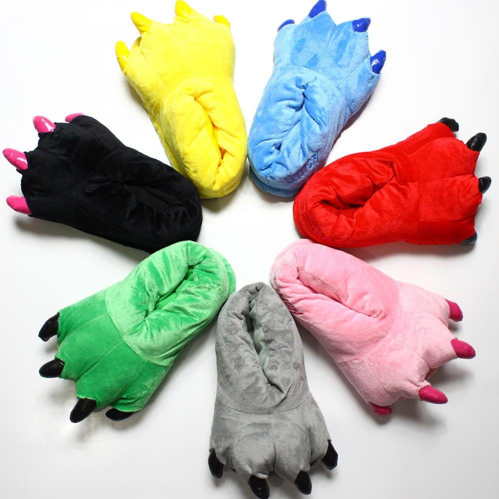 Winter Children Shoes Boys Girls Slippers Cartoon cartoon paw plush Kids Home Shoes Soft Warm Winter Cotton Home Slippers