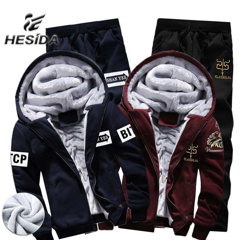 Warm Sport Suit Men Fur Hoodies Thick Two Piece Set Tracksuit For Mens Sports Jacket Winter Jogging Homme Survetement Sweatshirt
