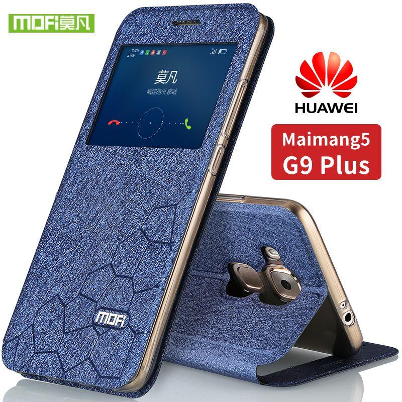 Huawei maimang 5 cas silicium couverture arrière écran protection flip en cuir Mofi d'origine huawei g9 plus cas fenêtres intelligentes cas 5.5