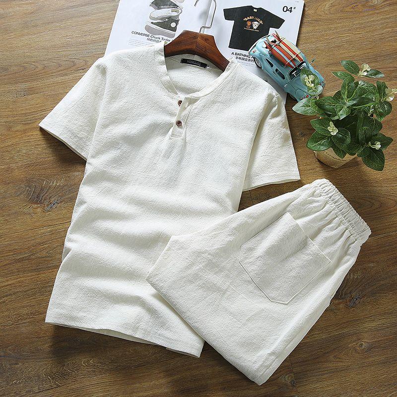 2019 mode hommes été pur couleur lin costumes/hommes tissus de lin à manches courtes T-shirt/grande taille M-5XL SHORTS