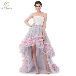 SSYFashion Reizvolle Trägerlose Sleeveless Kurze Vordere Lange Zurück Spitze Blumen Abendkleid Braut Bankett Formale Partei-kleider Vestidos